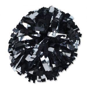 Silver & Black Cheerleading Pom Poms
